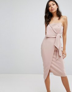 Read more about Misha collection structured bandeau pencil dress with tie detail - blush pink