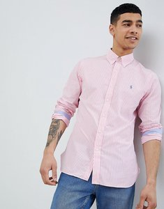 Read more about Polo ralph lauren slim fit stripe poplin shirt button down collar polo player in pink - rose pink