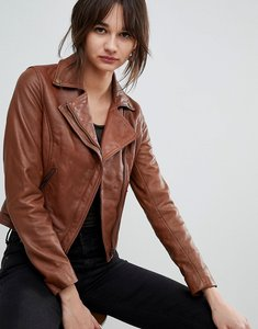 Read more about Barney s originals leather biker jacket with diagonal zip detail - brown