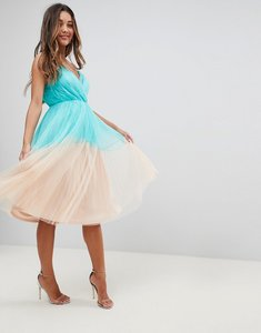 Read more about Asos premium pleated tulle colourblock midi dress - green nude