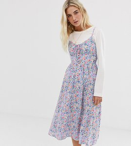 Read more about New look midi dress with tie front in ditsy floral print