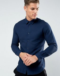 Read more about Selected homme slim shirt in texture - navy blazer