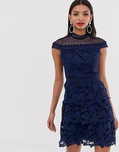 Read more about Chi chi london tiered lace a line mini dress in navy