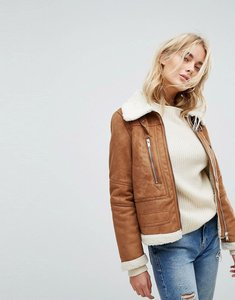Read more about Vero moda faux shearling jacket - brown
