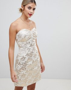 Read more about Glamorous strapless jacquard dress - gold jacquard