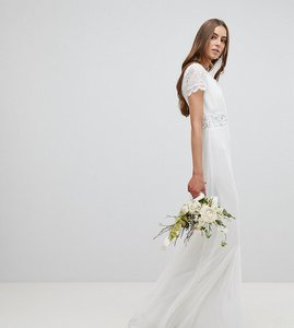 Read more about Amelia rosetall lace plunge front maxi dress with embellished waist - ivory