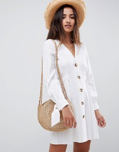 Read more about Asos design button through skater mini dress in linen - white