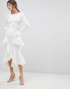 Read more about True decadence premium asymmetric ruffle lace midi skirt - white
