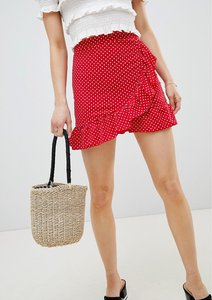 Read more about Lasula polka dot frill wrap skirt - red