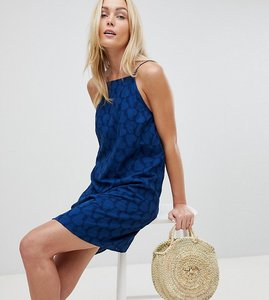 Read more about Asos design tall low back mini sundress in heart broderie - navy