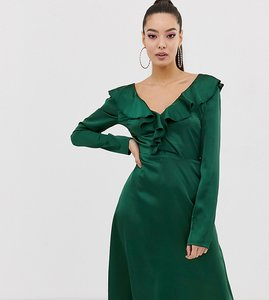 Read more about Missguided satin frill detail v neck midi dress in green