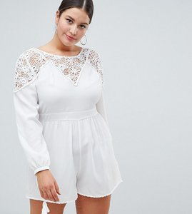 Read more about Asos design curve lace insert playsuit - white