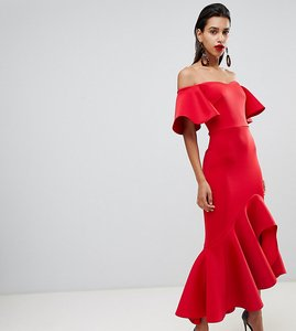 Read more about True violet bardot midi dress with dramatic frill detail in red - red