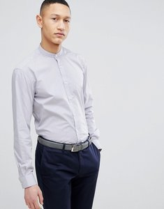 Read more about French connection plain grandad slim fit shirt - grey