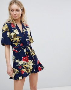 Read more about Parisian floral print wrap playsuit with frill detail - navy