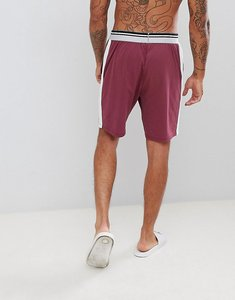 Read more about Asos design pyjama shorts in short length with stripe waistband - burgundy