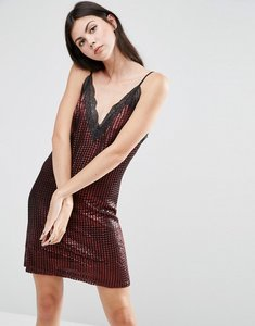 Read more about House of holland chainmail metallic slip mini dress - red