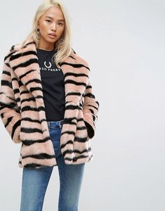 Read more about Jakke mid length faux fur coat in animal stripe - pink tiger