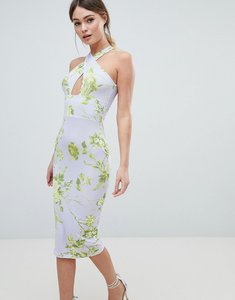 Read more about Asos floral cross front midi bodycon dress - multi