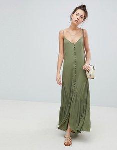 Read more about Asos design button through maxi dress in crinkle - khaki