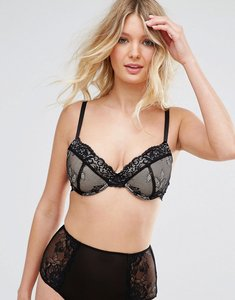fb2fc89b2eb85 Read more about Asos fuller bust ria basic lace mix match padded plunge bra  - black