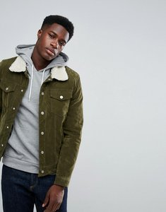 Read more about Stradivarius borg lined trucker jacket in khaki - khaki