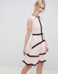 Read more about Liquorish lace skater dress with contrast trim - pink