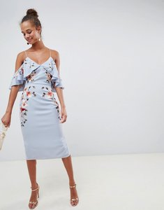 Read more about Asos design embroidered pencil midi dress with cold shoulder - pale blue