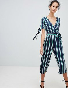 Read more about Qed london wrap front tie sleeve jumpsuit in stripe print - navy green