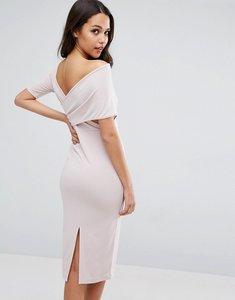 Read more about Asos crepe cross back asymmetric midi dress - nude
