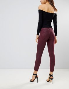 Read more about Freddy wr up mid rise shaping effect coated crop biker jean - bordeaux