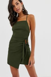 Read more about Asos design strappy back wrap mini dress with tortoise shell buckle