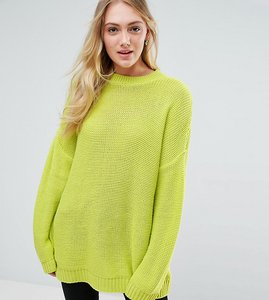Read more about Asos tall oversized chunky jumper - lime