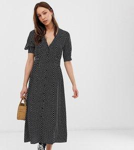 Read more about Asos design tall button through midi tea dress with shirred waist in mono spot print