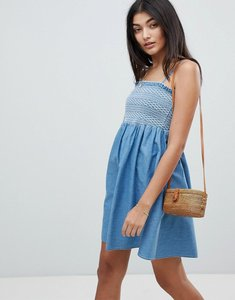 Read more about Asos design denim shirred strappy dress - blue
