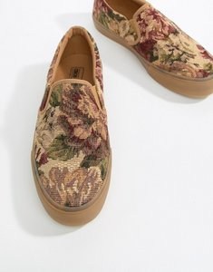 Read more about Asos design slip on plimsolls in floral tapestry with gum sole - multi