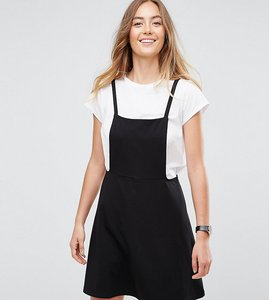 Read more about Asos tall mini pinafore dress with strappy back - black