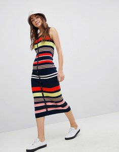 Read more about Asos design sleeveless knit dress in rib stripe - multi