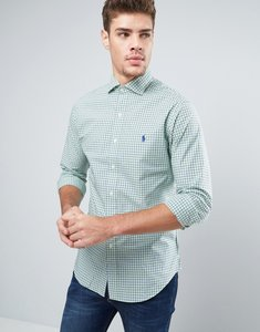 Read more about Polo ralph lauren check shirt slim fit cutaway collar poplin - navy lime check
