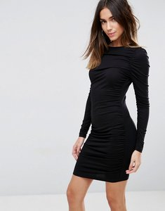 Read more about Asos ruched mini bodycon dress with long sleeve - black