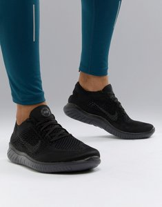 340f3f3d3f910 Read more about Nike running free run flyknit 2018 trainers in triple black  942838-002