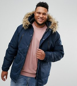 Read more about D-struct plus faux fur trimmed parka jacket - navy