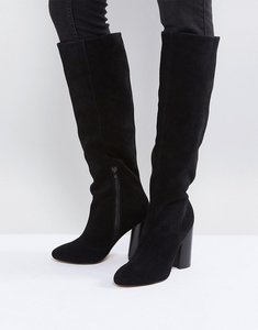 Read more about Asos cabrinie suede pull on knee boots - black suede