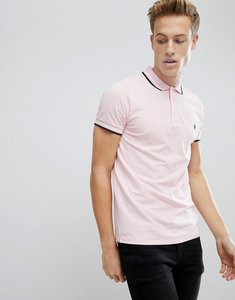 Read more about French connection tipped pique polo shirt - pink mel