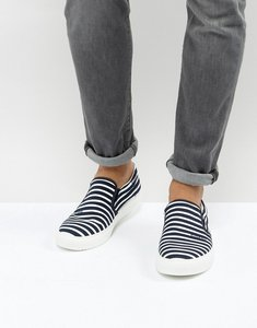 Read more about Armani jeans stripe slip on plimsolls in navy - navy