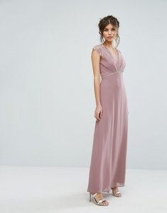 Read more about Elise ryan maxi dress with eyelash lace and embellished waist - taupe rose