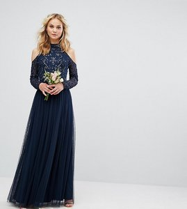 Read more about Maya embellished tulle midi dress with cold shoulder - navy