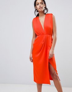 Read more about Asos design satin sleeveless midi dress - hot red
