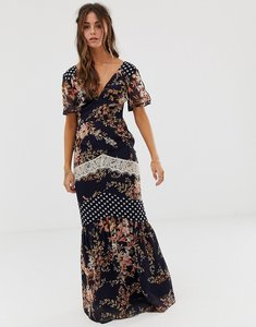 Read more about Hope ivy mix and match printed maxi dress with lace trim detail - navy base print
