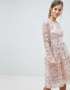 Read more about Chi chi london premium embroidered floral long sleeved midi prom dress with open back - pink multi